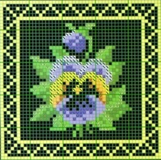 miniature needlework chart - done in squares for quilt wall hanging?