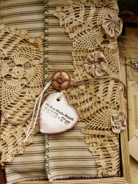 "Pinner says:  ""Journal cover~~love the crochet lace with the ticking.""  Note:  could also be a scrapbook cover with doilies...."