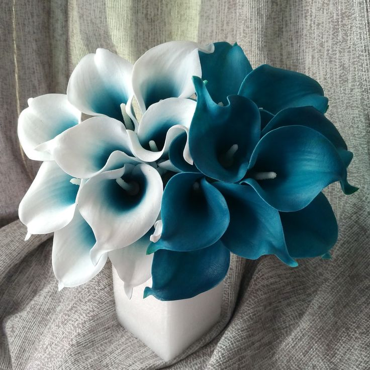 wedding centerpieces fake flowers%0A     Real Touch Calla Lily Teal Latex Calla Lilies Teal Blue Wedding Flower  For Wedding Centerpieces