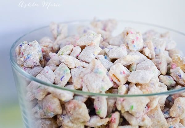 cake batter sprinkles chex muddy buddies recipe made with cake mix and sprinkles