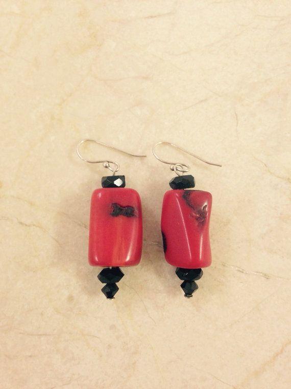 Versatile red and black earrings