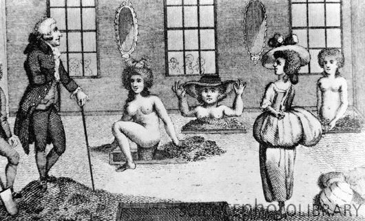 "Mud baths. Women taking mud baths in the 18th century, watched by James Graham (died 1794), a Scottish medical fraudster. Bathing in mineral water and mud was prescribed for many types of ailments, though the rich and famous also used bathing houses as social centres. Graham's ""earth- bathing"" was one of a number of medical frauds that he carried out in London. He claimed that bathers could prolong their physical beauty by bathing at his establishment. Graham died insane in Scotland."