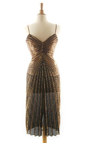 Vintage Cocktail Dresses | Gold Metallic Cocktail Dress - 70s Dresses Image