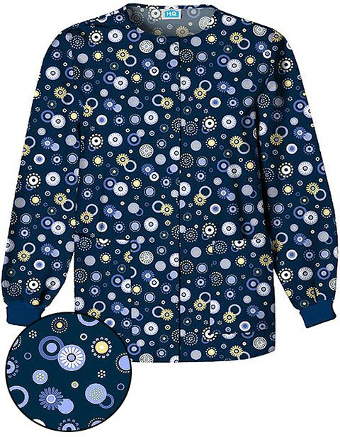 "Improve your style with this fashionable warm up scrub jacket from Cherokee Medical Uniforms. This is printed with ""Dots Wonderful"" design, and comes in a a jewel neckline, long set-in sleeves with rib knit cuffs and a four-button snap front closure."