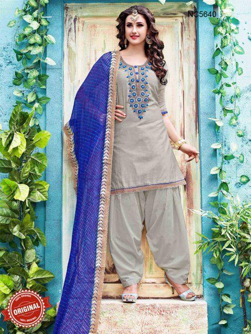 Grey & Blue Chanderi Silk Patiala Suit