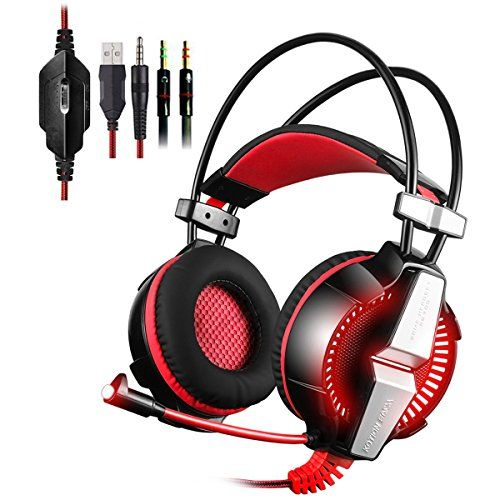 PS4 Gaming Headset Kingtop Xbox One LED Lighting Computer Headphone with Mic Stereo Bass for PlayStation4 Xbox One PC Tablet Laptop Mobile Phones Smartphones >>> Want to know more, click on the image.Note:It is affiliate link to Amazon.
