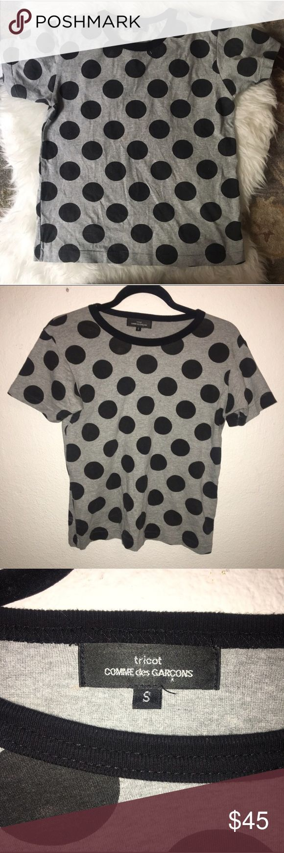🎀COMME DES GARÇON TRICOT polka dot tee shirt🎀 authentic. worn once or twice, perfect condition. size small. grey with black polka dots. please note the fabric content tag (on the inside) has been cut out. Comme des Garcons Tops Tees - Short Sleeve