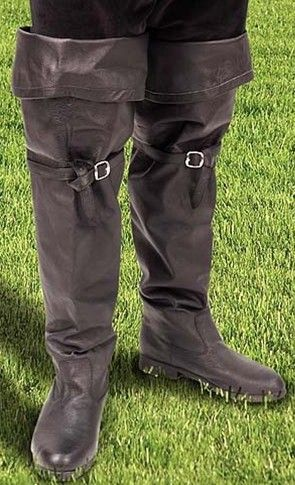 Cavalier boots with cuff up.  Can also be worn with cuff down for a knee-length boot