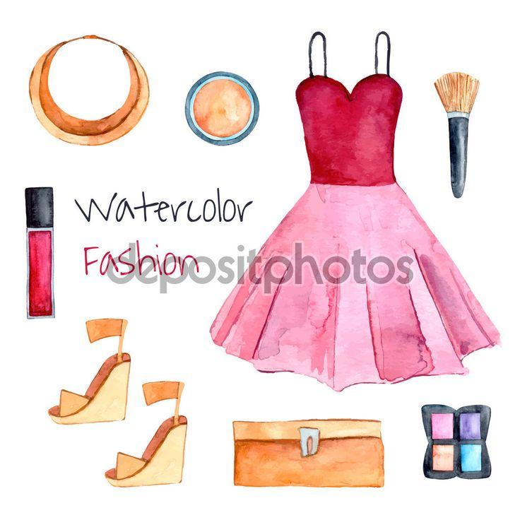 Conjunto de moda. Mão desenhadas aquarela roupas: vestido, bolsa, sapatos, colar, batom, sombras de olho, escova-de-rosa. Ilustração em vetor. Elementos de beleza isolada para seu projeto