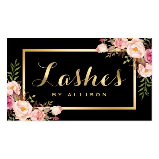 Lashes Script Modern Makeup Black Gold Floral Business Card #makeup #artist #business #card