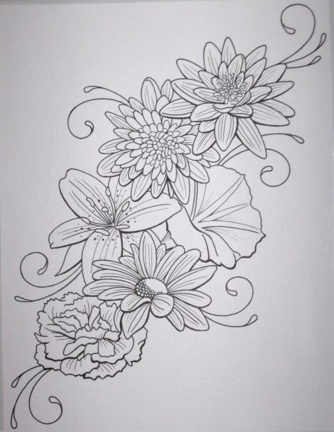Flower tattoo outline