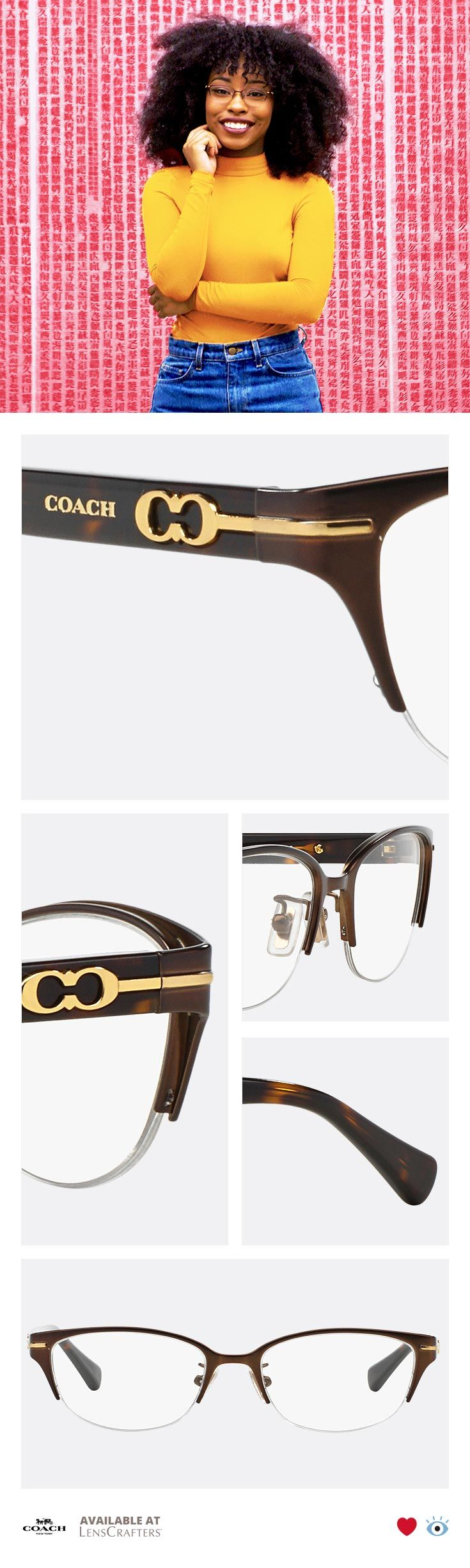A delicate metal cat-eye shape in a burnished satin eyeglass frame defines Coach elegance. Tortoise temples and Kissing Cs logo add exquisite, jewel-like details to this eyeglass frame. Shown here in satin brown/dark tortoise with gold signature logo.