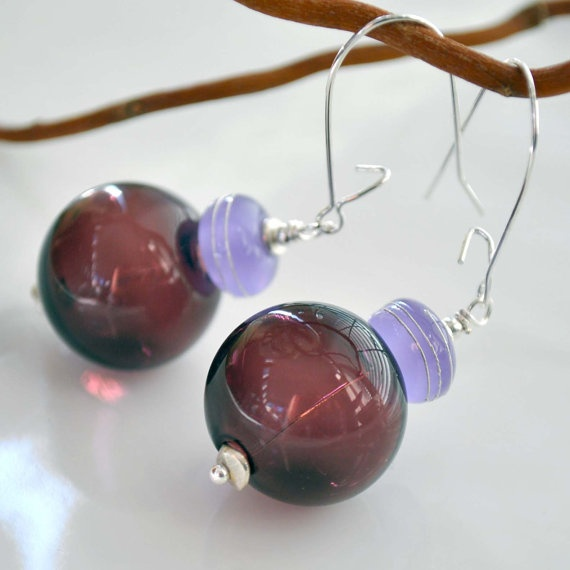 Purple Glass Earrings by bstrung on Etsy, $25.00