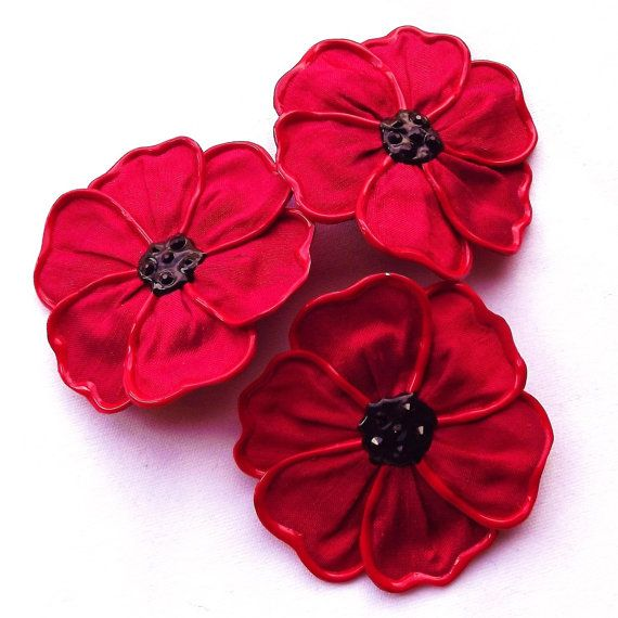 Flanders poppy brooch large by begurple on Etsy