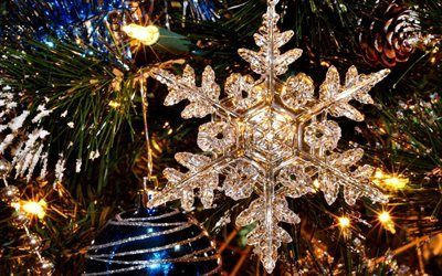 Scarica sfondi decorazione, anno nuovo, pricesi, cristallo fiocco di neve, natale
