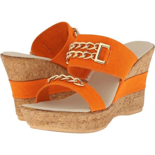 Onex Adrianna Women's Dress Sandals, Orange ($87) ❤ liked on Polyvore featuring shoes, sandals, orange, wedges shoes, orange sandals, orange dress sandals, embellished sandals i cork wedge sandals