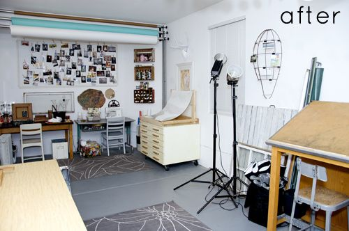photographer Natalie Wright's garage-turned-studio  http://www.designsponge.com/2012/02/before-after-garage-studio.html