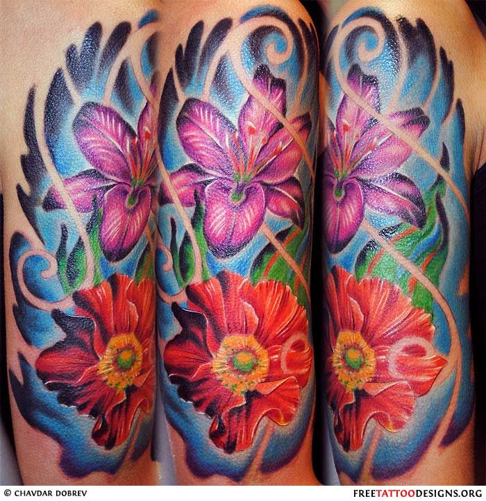 Exotic flowers tattoo