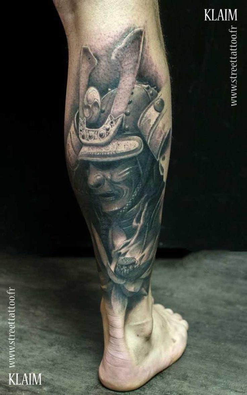 Japanese calf tattoos by durb - Black And Grey Samurai Helmet Tattoo By Klaim