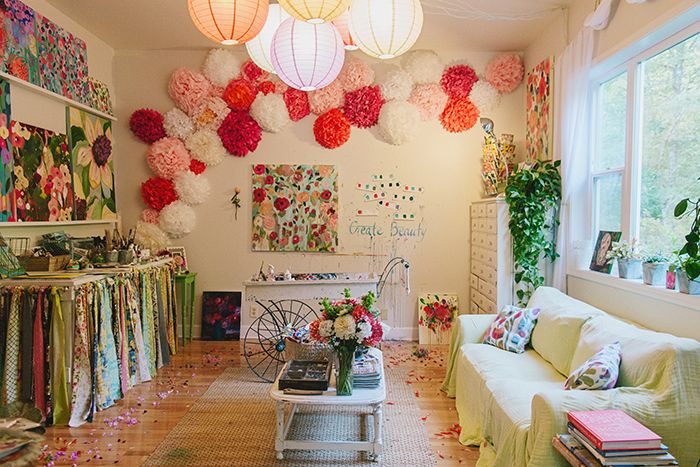 Studio of Carrie Schmitt (keep an eye out for her new book, Pretty Petals!) #studio #spaces