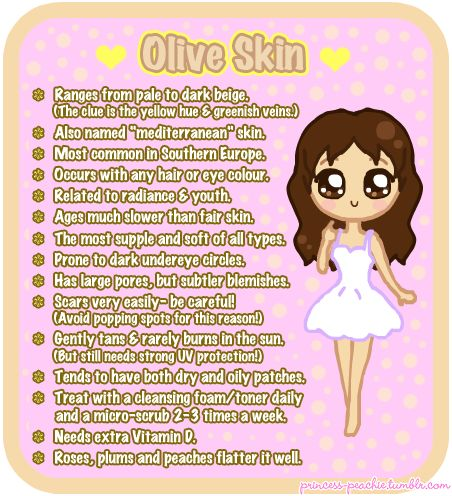 Me, my brother and mother are olive skinned, and while the others are very tanned and freckled, I am pale with that hint of yellow with green veins.