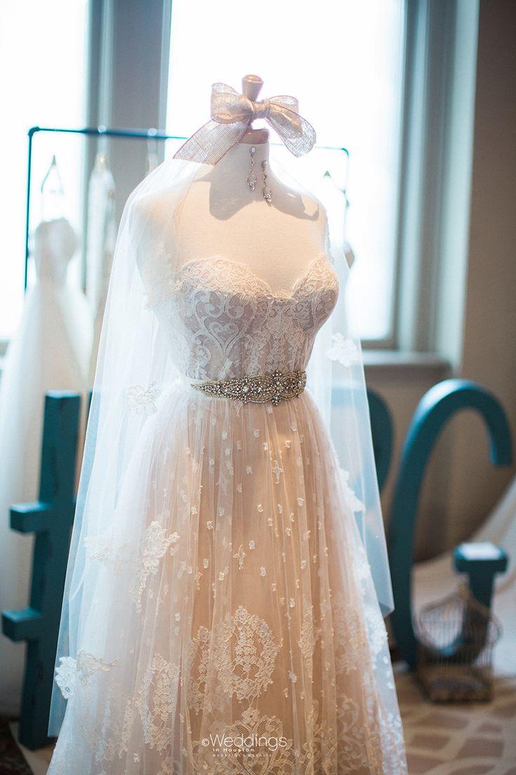 Blush & Lace Overlay Wedding Dress from Houston Bridal Gallery   Photo: Civic Photos
