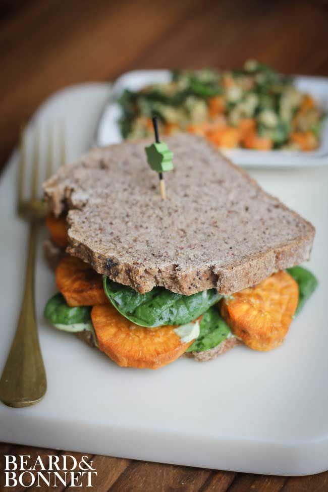 Roasted Sweet Potato and Cilantro Cashew Cream Sandwich (Gluten-Free and Vegan)