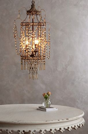 Crystal palace chandelier and table