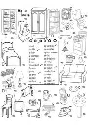 english worksheet furniture 3 luoghi da visitare pinterest vocabulary worksheets. Black Bedroom Furniture Sets. Home Design Ideas