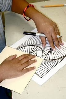 """Parabolic Line Drawing- Sydney Opera House by John Utzon- 9x9 piece of white paper and a 7x7 square stencil. Step 1: Trace the square on their paper. Step 2: Measure a """"finger's width"""" or 1/2"""" aw..."""