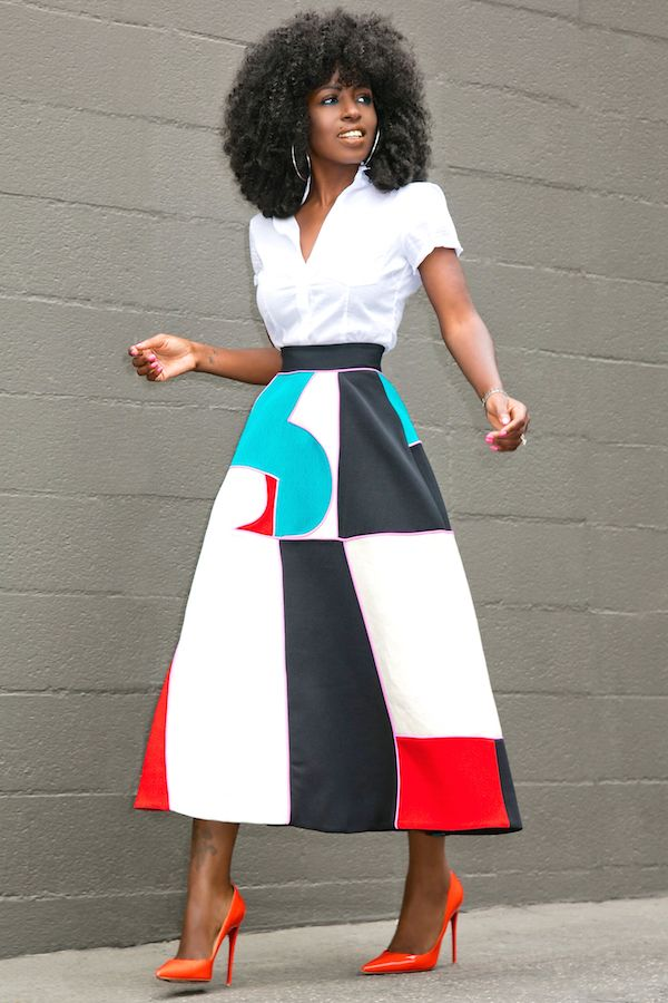 Short Sleeve Button Down + Color Block Midi Skirt.