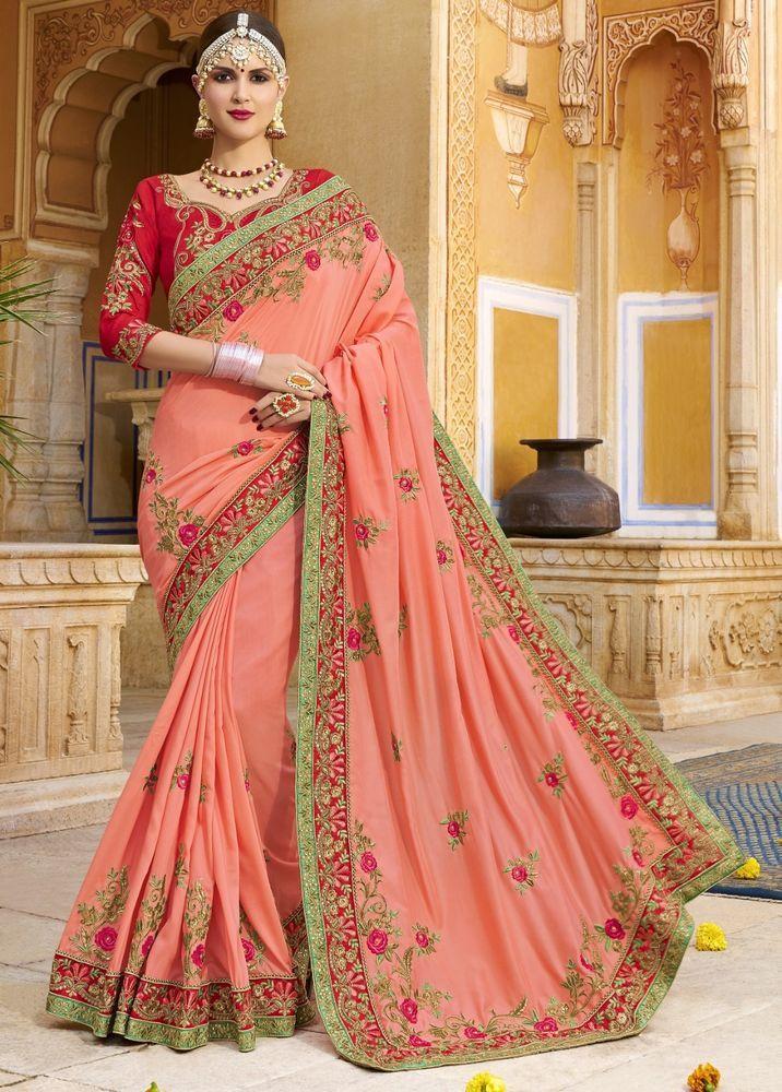 2a3cf1c35d5 Indian Designer Wedding Silk Saree Sari Traditional Indian Ethnic  Embroidered  NA  Sari