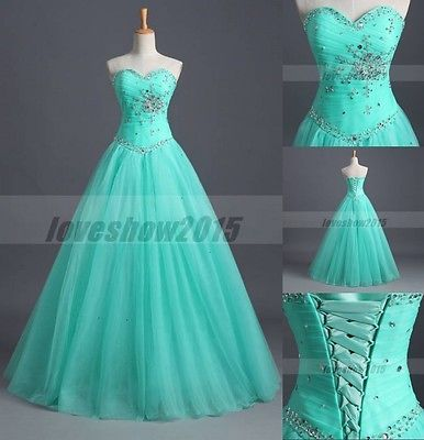 Mint Green Long Prom Dresses Ball Gown Pageant Quinceanera Dresses Stock Size