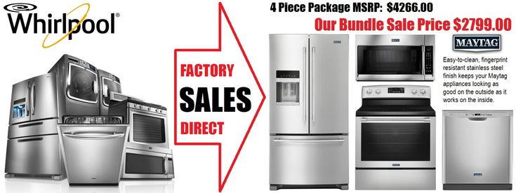 Maytag 4 piece SS Kitchen Appliance Package Sale $2799 Save $1457