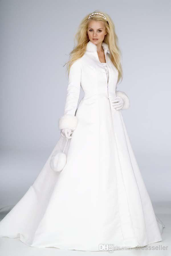New White Winter Wedding Dress Cloak High Collar Satin Long Sleeve Coat For Bride