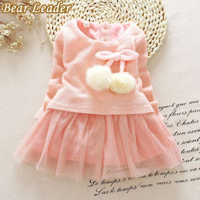 Líder del oso Del Bebé Niñas Vestido de Otoño Invierno de manga larga vestido de la princesa Bola de hilo de Ropa de Los Cabritos Niños Partido de la princesa vestidos