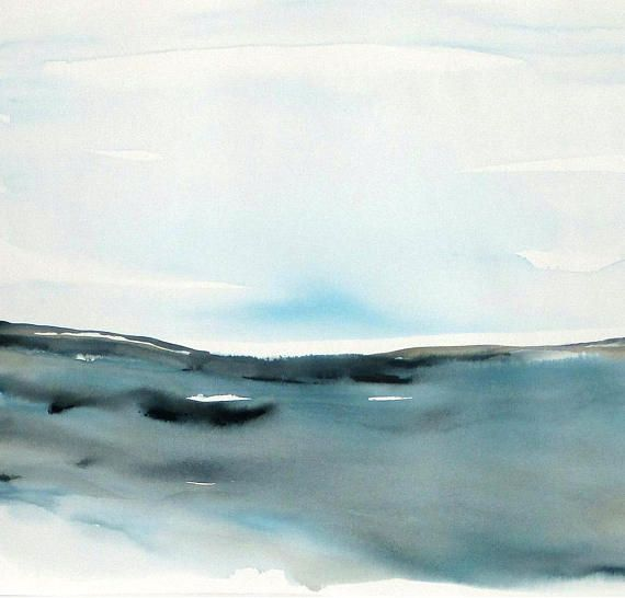 Original Watercolor Abstract Seascape Landscape painting