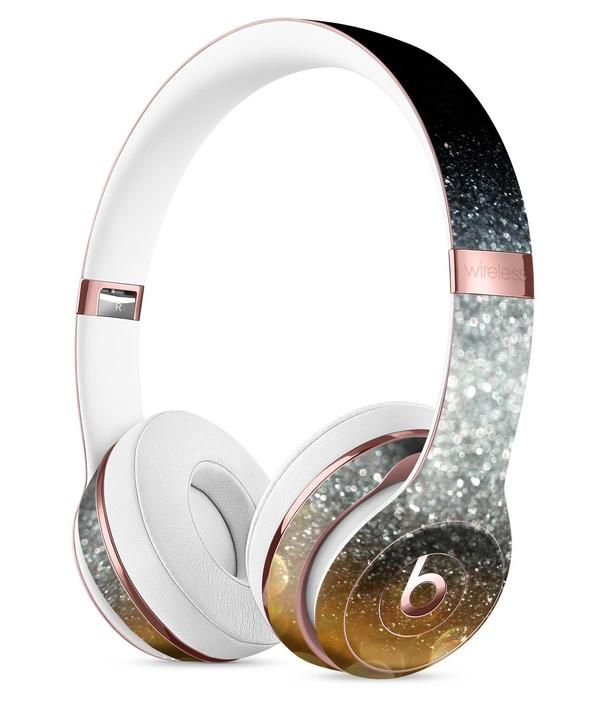 Unfocused Silver Sparkle with Gold Orbs Full-Body Skin Kit for the Beats by Dre Solo 3 Wireless Headphones