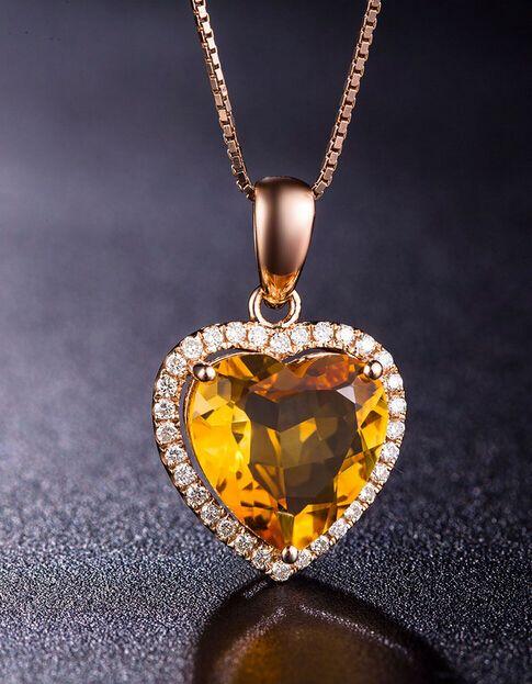 Natural citrine heart pendant