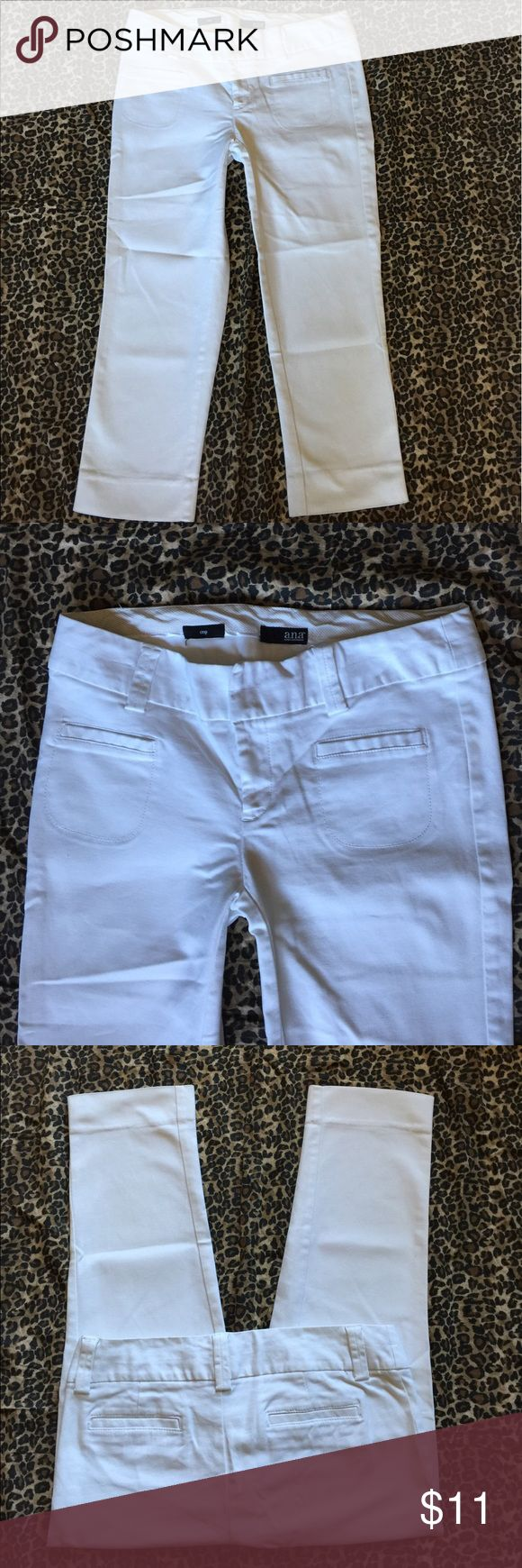 Women's a.n.a white cropped dressy capris sz. 8 🌸 Very nice!! Washed & worn just a couple times! Super comfy & stylish! Made by a.n.a these are a size 8 ~ a dressy like cropped Capri with cute pockets & nice slender & comfy feel to them! Some stretch these are made out of 98%cotton & 2%spandex. Waist measured across, laying flat is approx. 16.5' ~rise is approx. 8' ~& inseam is approx. 23' These are perfect for that pretty summer top & sandals, slip ons, flip flops or heels! Any questions…