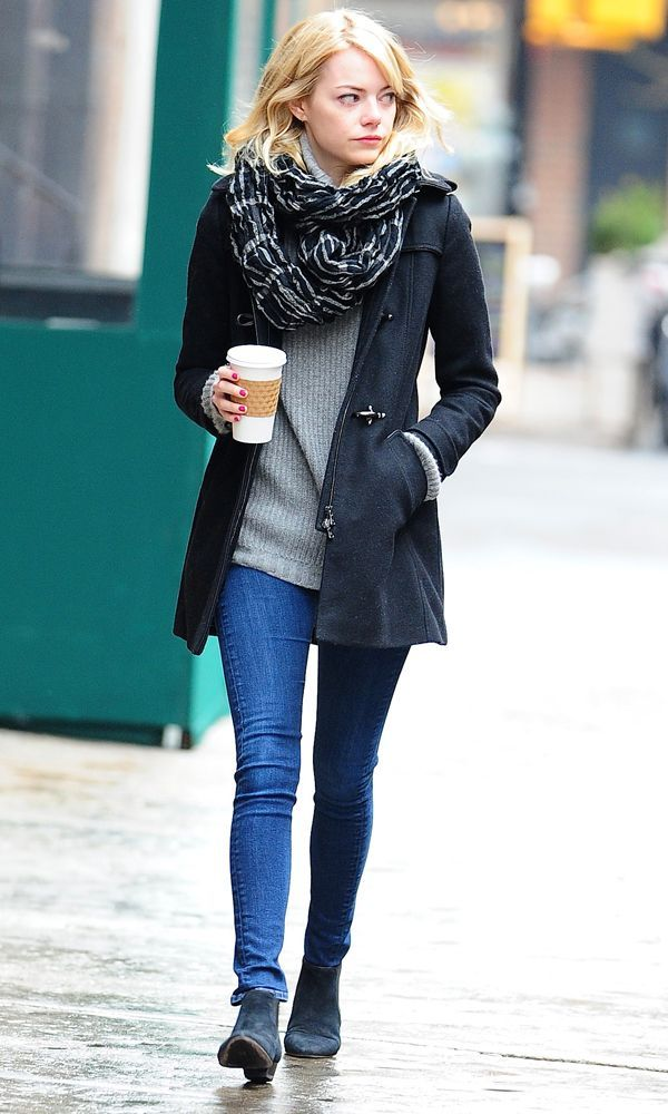 Shop this look on Lookastic:  http://lookastic.com/women/looks/scarf-turtleneck-duffle-coat-skinny-jeans-ankle-boots/5971  — Black Print Scarf  — Grey Turtleneck  — Black Duffle Coat  — Blue Skinny Jeans  — Navy Suede Ankle Boots