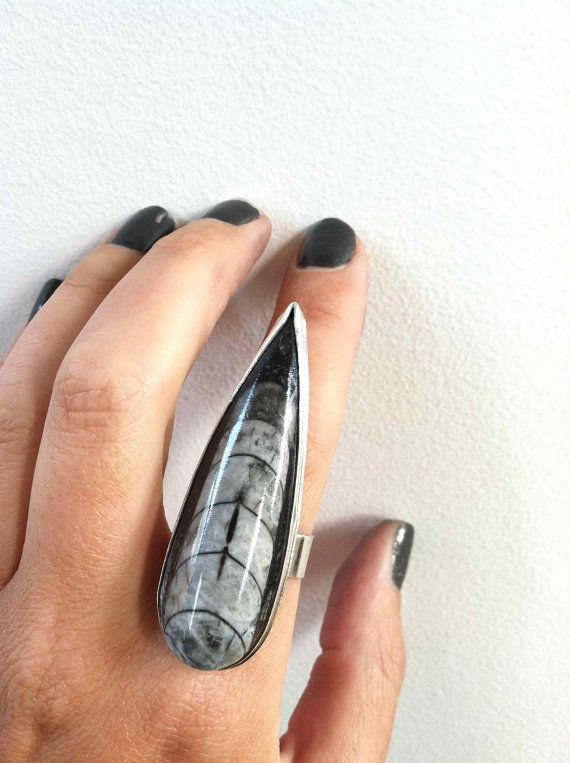Orthoceras Dagger Ring- Sterling Silver Stone Ring, Fossil Ring, Big Stone Ring, Black and White Statement Ring