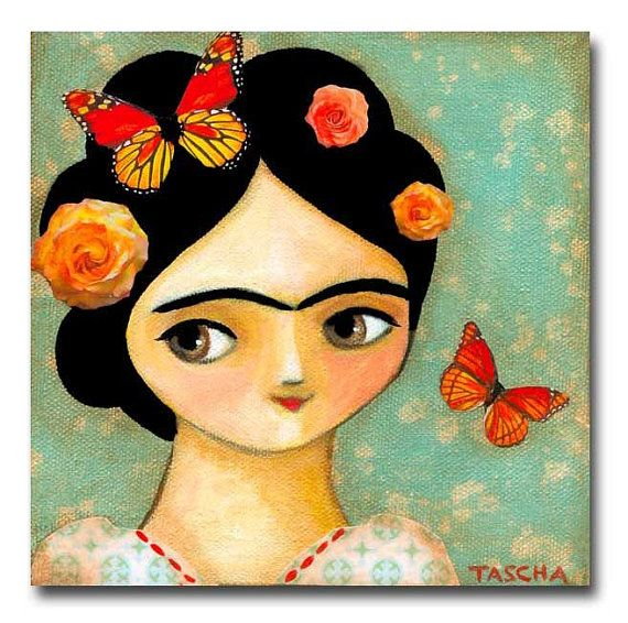 ORIGINAL portrait painting FRIDA Kahlo with MONARCH by tascha, $80.00