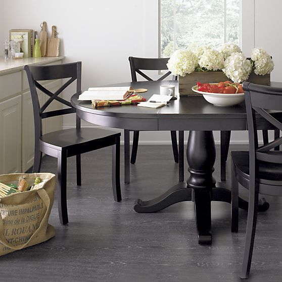 avalon 45 black extension dining table in dining kitchen tables crate and barrel. Interior Design Ideas. Home Design Ideas