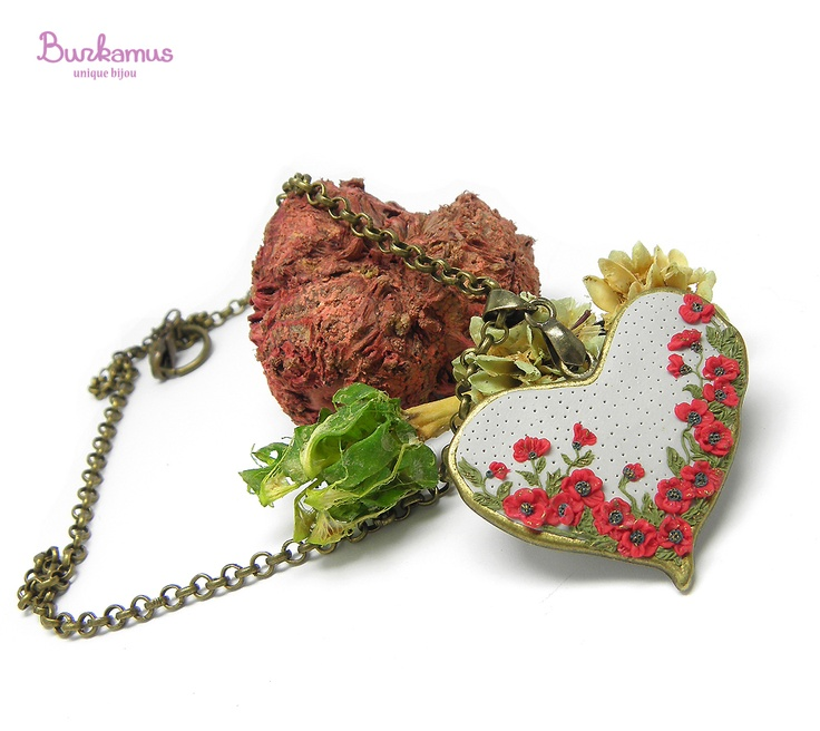 Polymer clay heart with flowers