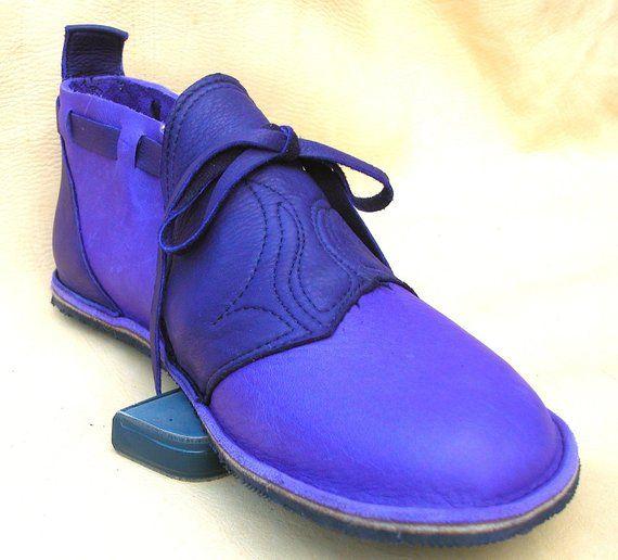 be204700f7ee7 Handmade Custom Leather Shoes - Purple Bull Hide -