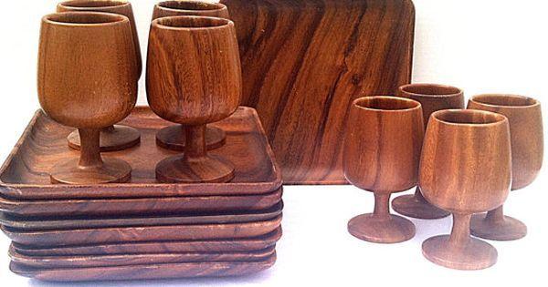 Vintage 1960s Danish Modern Teak Wood Dinnerware Set Plates and ...