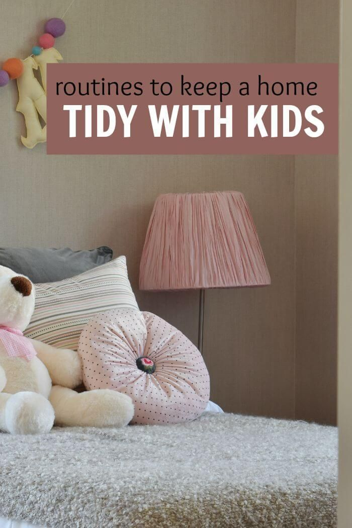 Some easy and fun routines to help keep your home tidy even if you have small children. Moms who need to get their households in order will want to read this.