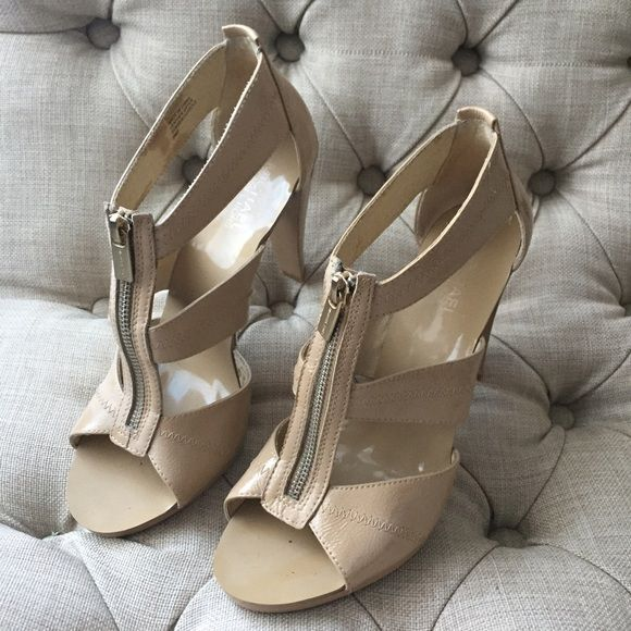 Michael Kors Zip Heals in Nude Little wear! Nude zip up heals!! These will go great with any outfit! Michael Kors Shoes Heels