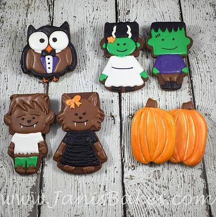 janisbakes | Halloween Owl Frankenstein, Frankenstein's Wife, Werewolf, Girl Werewolf, pumpkin Decorated Cookies